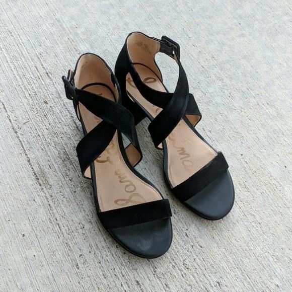 1417ca9f3c Sam Edelman Shoes | Black Suede Strappy Low Heel Sandal | Poshmark
